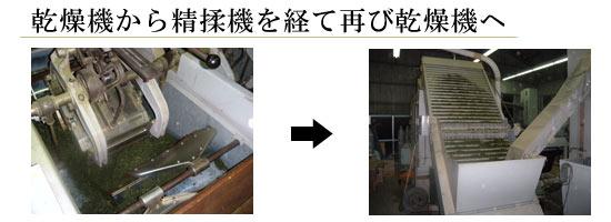 乾燥機から精揉機を経て再び乾燥機へ